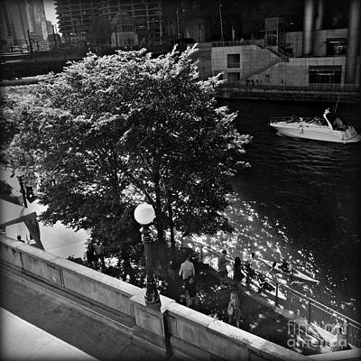 Frank J Casella Royalty-Free and Rights-Managed Images - Summer Days on the Chicago River - Black and White by Frank J Casella
