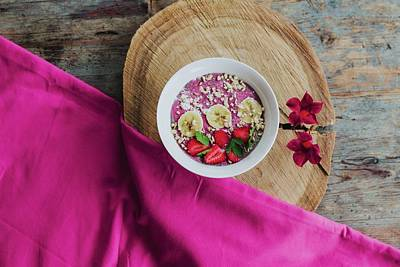Royalty-Free and Rights-Managed Images - SUMMER DAZE - strawberry and banana slices on bowl by Julien