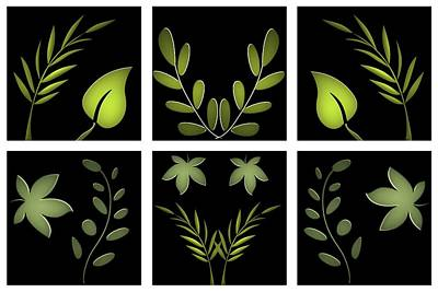 Wild And Wacky Portraits Rights Managed Images - Summer Greens Vegetation Hexaptych Dry Brush Royalty-Free Image by David Dehner