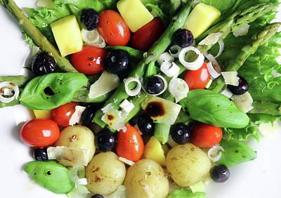 Abstract Alcohol Inks - Summerpotato Asparagus Blueberry Basil Tomato Salad by Johanna Hurmerinta