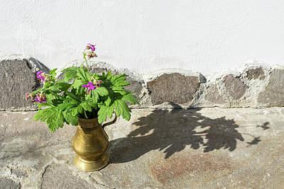 Keith Richards - Summertime Aromatherapy - Fragrant Cranesbill Flowers in Antique Bronze Vase by Georgia Mizuleva