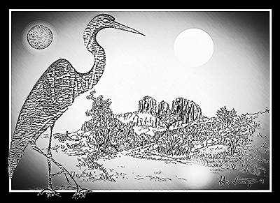 Drawings Royalty Free Images - Sun and Moon at RED ROCK Royalty-Free Image by Hartmut Jager