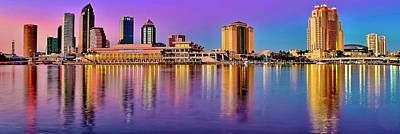 Popstar And Musician Paintings Royalty Free Images - Sun Descending Tampa Panorama Royalty-Free Image by Frozen in Time Fine Art Photography