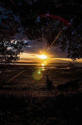 Photograph - Sun Rays over low tide on Hamble Beach by Lenny Carter