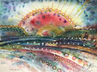 Painting - Sun Spots Lake Heron by Glen Neff