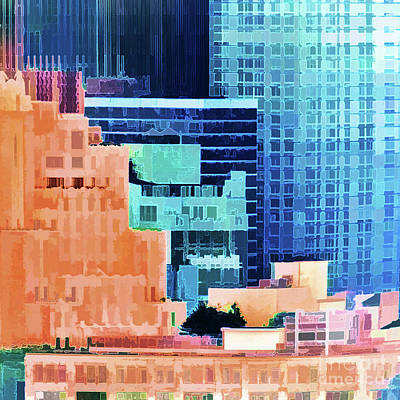 Angels And Cherubs - Sundown Painted City Abstract Squared 2 by Regina Geoghan