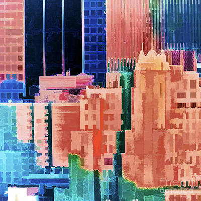 Angels And Cherubs - Sundown Painted City Abstract Squared by Regina Geoghan