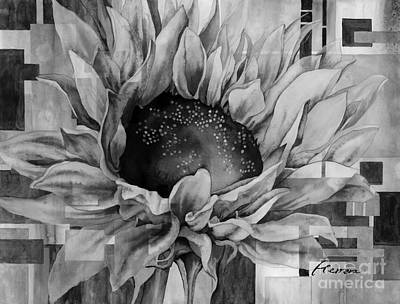 Ethereal - Sunflower Canopy in Black and White by Hailey E Herrera