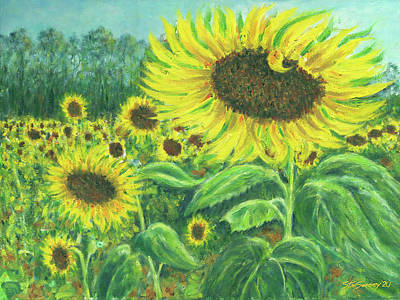 Firefighter Patents Royalty Free Images - Sunflower Field Royalty-Free Image by Stan Sweeney