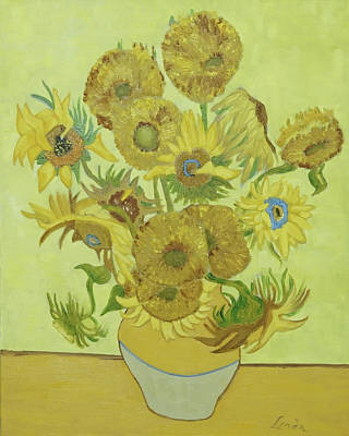 Painting - Sunflowers in a Vase by Linda Falorio