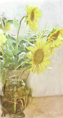 Still Life Royalty-Free and Rights-Managed Images - Sunflowers Vase in Light by Katrina Jones