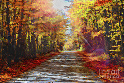 Stellar Interstellar Royalty Free Images - Sunlight on A Country Road Oil 3 Royalty-Free Image by Scott Polley