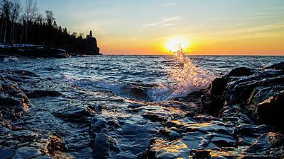 Photograph - Sunlight Splash at Split Rock Lighthouse by Joe Miller