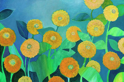 Royalty-Free and Rights-Managed Images - Sunny Flowers in Blue by Jennifer Lommers