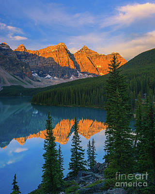 World War Two Production Posters - Sunrise at Moraine Lake, Alberta, Canada by Henk Meijer Photography