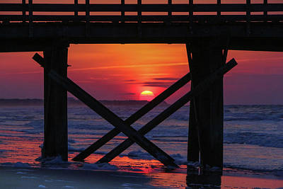 Photograph - Sunrise at the Isle of Palms Pier 2 by Judy Garrard