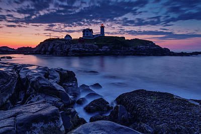 Spot Of Tea Royalty Free Images - Sunrise Behind Nubble Lighthouse Royalty-Free Image by Jerry Fornarotto