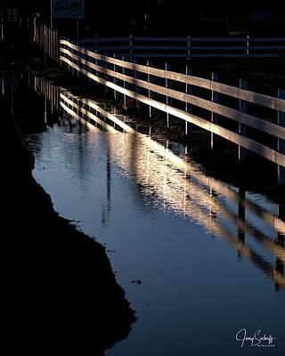 Jerry Sodorff Royalty-Free and Rights-Managed Images - Sunrise Fence and Reflection by Jerry Sodorff