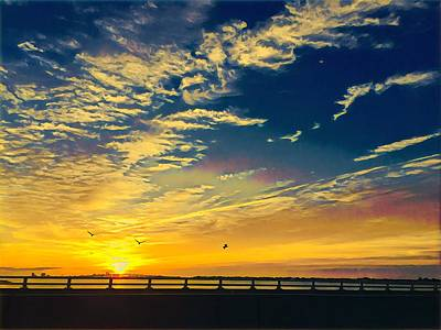 Surrealism Royalty-Free and Rights-Managed Images - Sunrise Heading Into Town by Surreal Jersey Shore