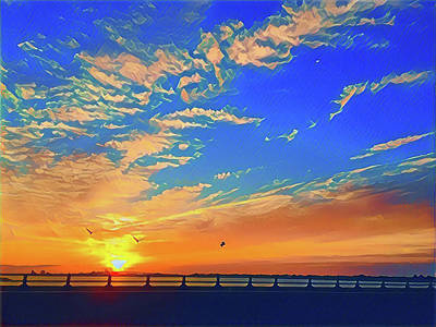 Surrealism Digital Art - Sunrise Heading Into Town by Surreal Jersey Shore