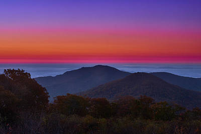 Photograph - Sunrise Beyond Old Rag Mountain in Shenandoah National Park by Walter Rowe