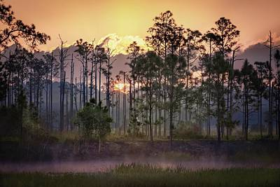 Clouds Rights Managed Images - Sunrise Over Florida Everglades Royalty-Free Image by Rebecca Herranen
