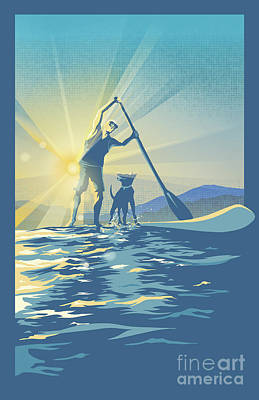 Royalty-Free and Rights-Managed Images - Sunrise Paddle Boarder by Sassan Filsoof