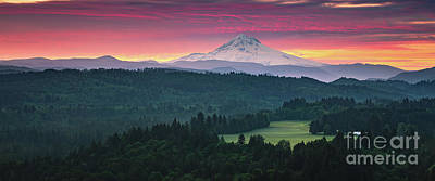 Photograph - Sunrise panorama Mt Hood, Oregon by Henk Meijer Photography