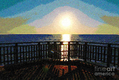 Vermeer Rights Managed Images - Sunset at Ocean Viewpoint Royalty-Free Image by Katherine Erickson