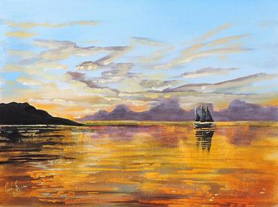 Painting - Sunset At Sea by Gordon Bruce