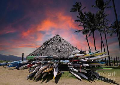 Palm Trees Rights Managed Images - Sunset at the canoe hale Hoaloha Kahului Maui Hawaii Royalty-Free Image by Sharon Mau