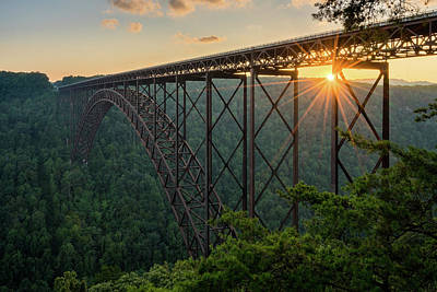 Photograph - Sunset at the New River Gorge Bridge in West Virginia by Steven Heap