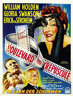 Mixed Media Royalty Free Images - Sunset Boulevard 2, with William Holden and Gloria Swanson, 1950 Royalty-Free Image by Stars on Art