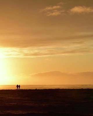 Jerry Sodorff Royalty-Free and Rights-Managed Images - Sunset Couple Seaside by Jerry Sodorff