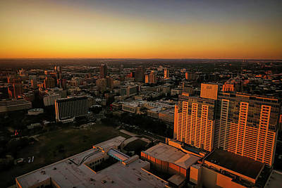 Modern Sophistication Line Drawings Royalty Free Images - Sunset From The Tower of The Americas Royalty-Free Image by Judy Vincent