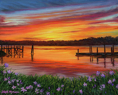 Painting - Sunset Lilies at Hilton Head Island by Steph Moraca