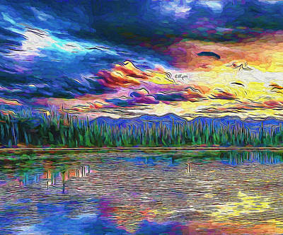 Featured Tapestry Designs - Sunset on lake 3 by Nenad Vasic