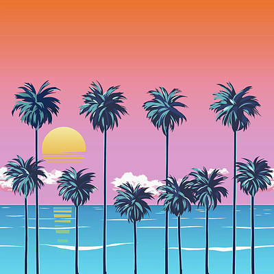 Royalty-Free and Rights-Managed Images - Sunset on the beach with palm trees, turquoise ocean and orange sky with clouds. Sun over the horizon. Tropical Surfing beach. by Julien