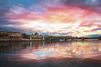 Wild Weather - Sunset on the Rhone River Lyon France  by Carol Japp