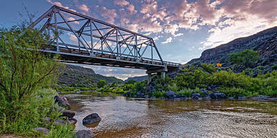 Lucille Ball - Sunset over Taos Junction Bridge Orilla Verde Recreation Area - Taos New Mexico Land of Enchantment by Silvio Ligutti