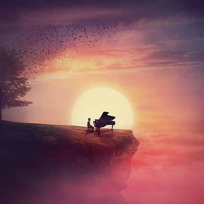 Surrealism Digital Art Rights Managed Images - Sunset Piano Melody Royalty-Free Image by PsychoShadow ART