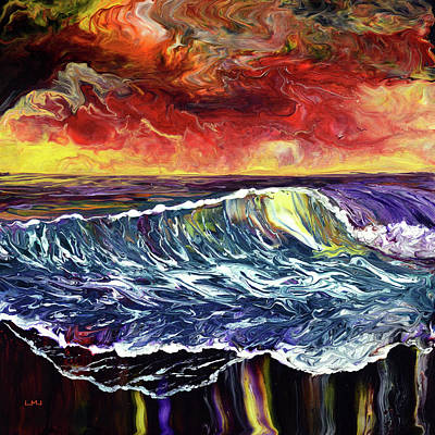 Painting - Sunset Seashore Reflections by Laura Iverson