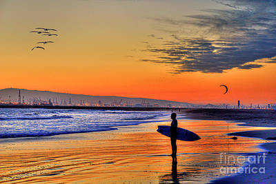 Winter Animals - Sunset Surfer Gantry Cranes Looming by David Zanzinger