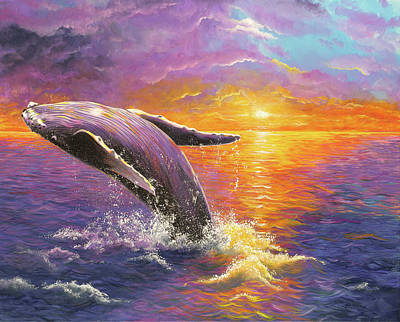 Animals Paintings - Sunset with humpback whale by Debra Dickson