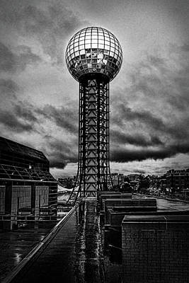 Photograph - Sunsphere on a rainy day black and white by Sharon Popek