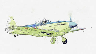Rowing - Supermarine Seafire MkXVII G-KASX SXRoyal Navy Antique - Classic Aircraft - Classic War Birds - Plan by Celestial Images