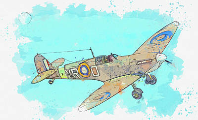 Rowing - SUPERMARINE SPITFIRE A in watercolor ca by Ahmet Asar by Celestial Images