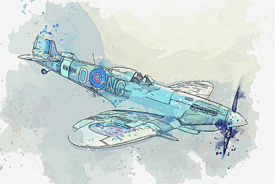 Rowing - Supermarine Spitfire LF Mk. XVIe in watercolor ca by Ahmet Asar  by Celestial Images