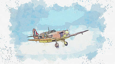 Rowing - SUPERMARINE SPITFIRE LF Vb in watercolor ca by Ahmet Asar  by Celestial Images