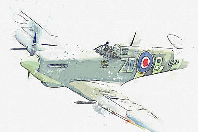 Rowing - Supermarine Spitfire Mk IXB G-ASJV MH Vintage Aircraft - Classic War Birds - Planes watercolor by Ah by Celestial Images